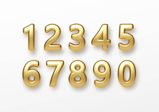 Realistic 3d lettering numbers isolated on white background. Golden numbers set. Decoration elements for banner, cover, birthday or anniversary party invitation design. Vector illustration Realistic 3d lettering numbers isolated on white background. Golden numbers set. Decoration elements for banner, cover, birthday or anniversary party invitation design. Vector illustration EPS10 number stock illustrations