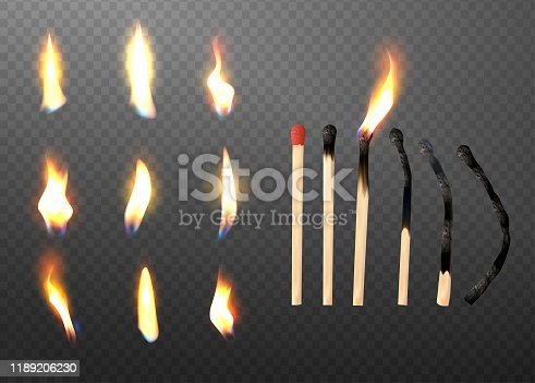 Whole and burnt matchstick. Stages of burning the match.