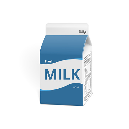 Realistic 3D Milk Carton Packing Isolated On White