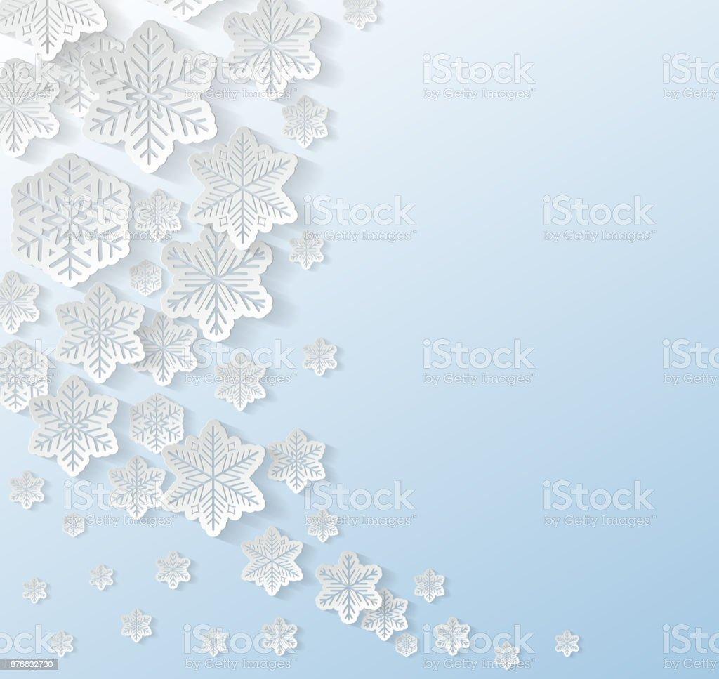 リアルな 3 d の赤の背景 - クリスマス デザインのコンセプトに雪片を紙します。ベクトル。 ベクターアートイラスト