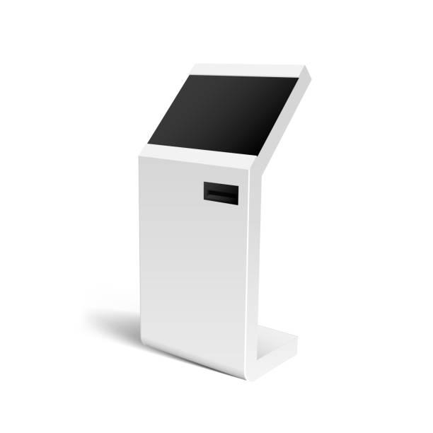 Realistic 3D Payment Terminal, ATM, POS Mock Up vector art illustration