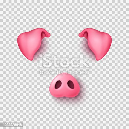 istock Realistic 3d pig nose and ears 1055528648