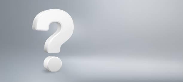 Realistic 3D question mark. Have a question, FAQ and QA. Questions sign vector background illustration Realistic 3D question mark. Have a question, FAQ and QA. Questions sign, question answer poster or problem solution vector background illustration verbaasd stock illustrations