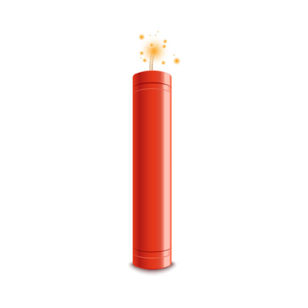 Realistic 3d red fire flash vector illustration isolated on a white background. Detonate dynamite bomb stick with a fire flash vector illustration isolated on a white background. Dangerous TNT weapon before explosion moment realistic icon. explosive fuse stock illustrations