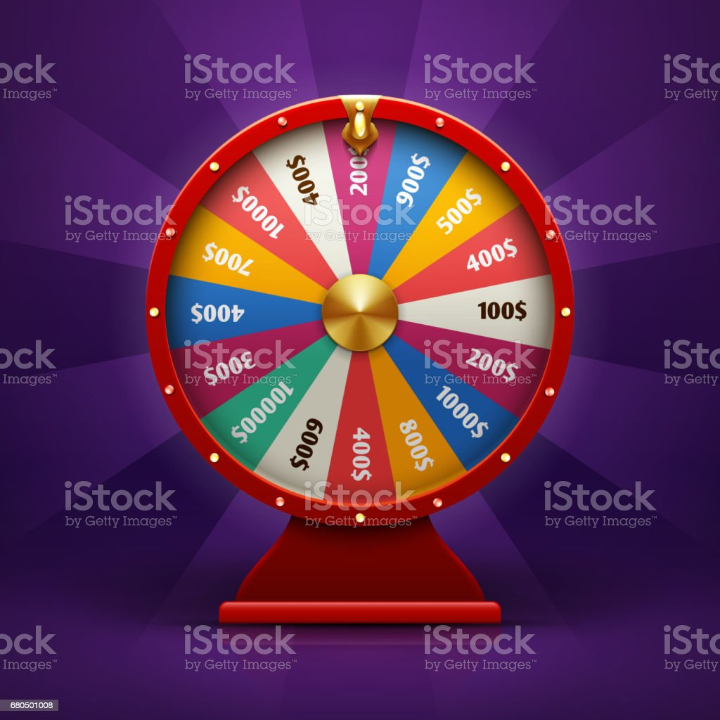 Realistic 3d spinning fortune wheel, lucky roulette vector illustration vector art illustration