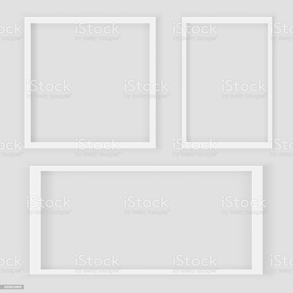 realistic 3d square and rectangular white blank picture frame