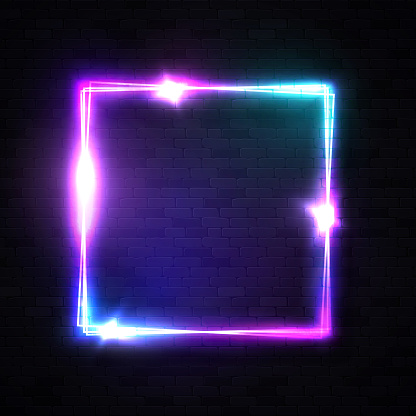 Realistic 3d square shape neon sign for decoration, covering on black brick wall background. Rectangle electric glowing frame with star sparkle light flash. Design element template vector illustration