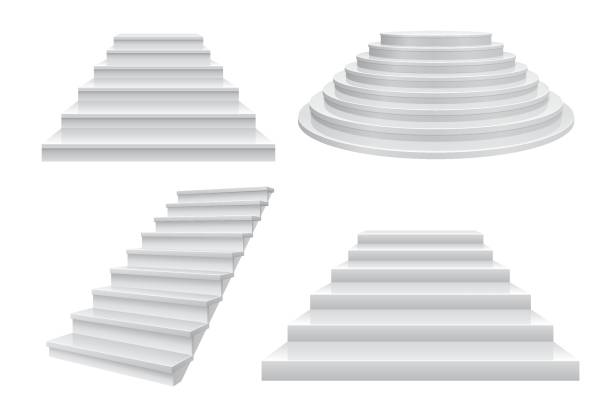 stockillustraties, clipart, cartoons en iconen met realistische 3d trap. carrière trap, ladder naar succes concept vooraanzicht geïsoleerd op wit. moderne business sjabloon - tree
