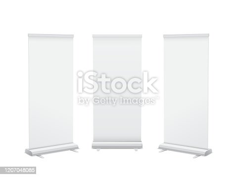 Realistic 3D vertical roll up banner stand template design. Isolated vector.
