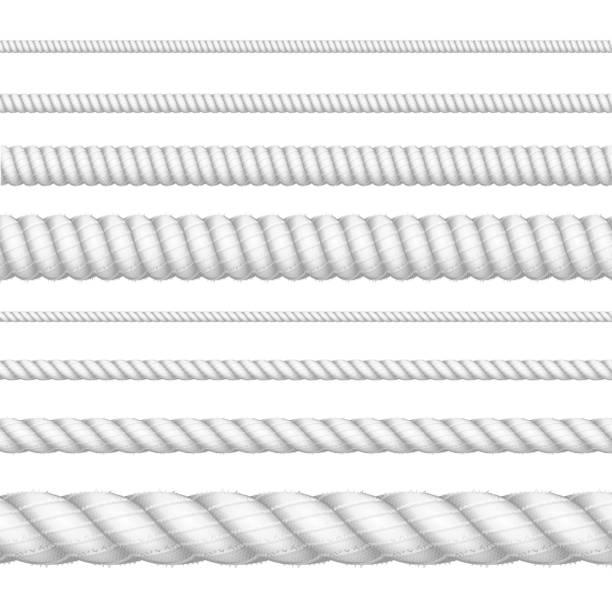 stockillustraties, clipart, cartoons en iconen met realistische 3d-wit gedetailleerde dikte touw lijn set. vector - touw