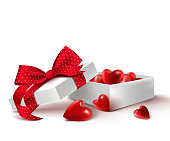 Realistic 3D White Gift Box with Balloon Hearts Inside Wrap in Red Ribbon for Romantic Valentines Day and Offerings. Isolated Vector Illustration