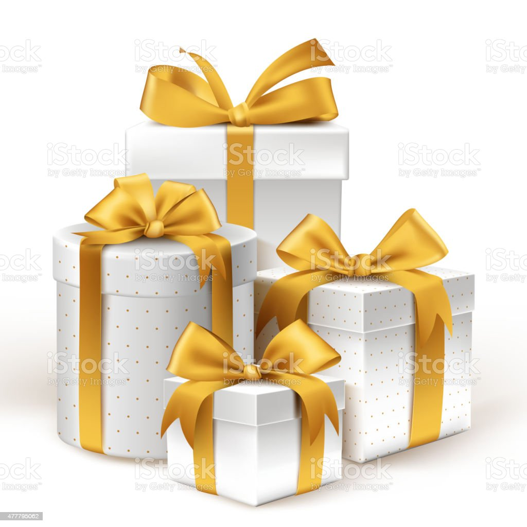 Realistic 3D White Gifts with Colorful Gold Ribbons Wrap vector art illustration