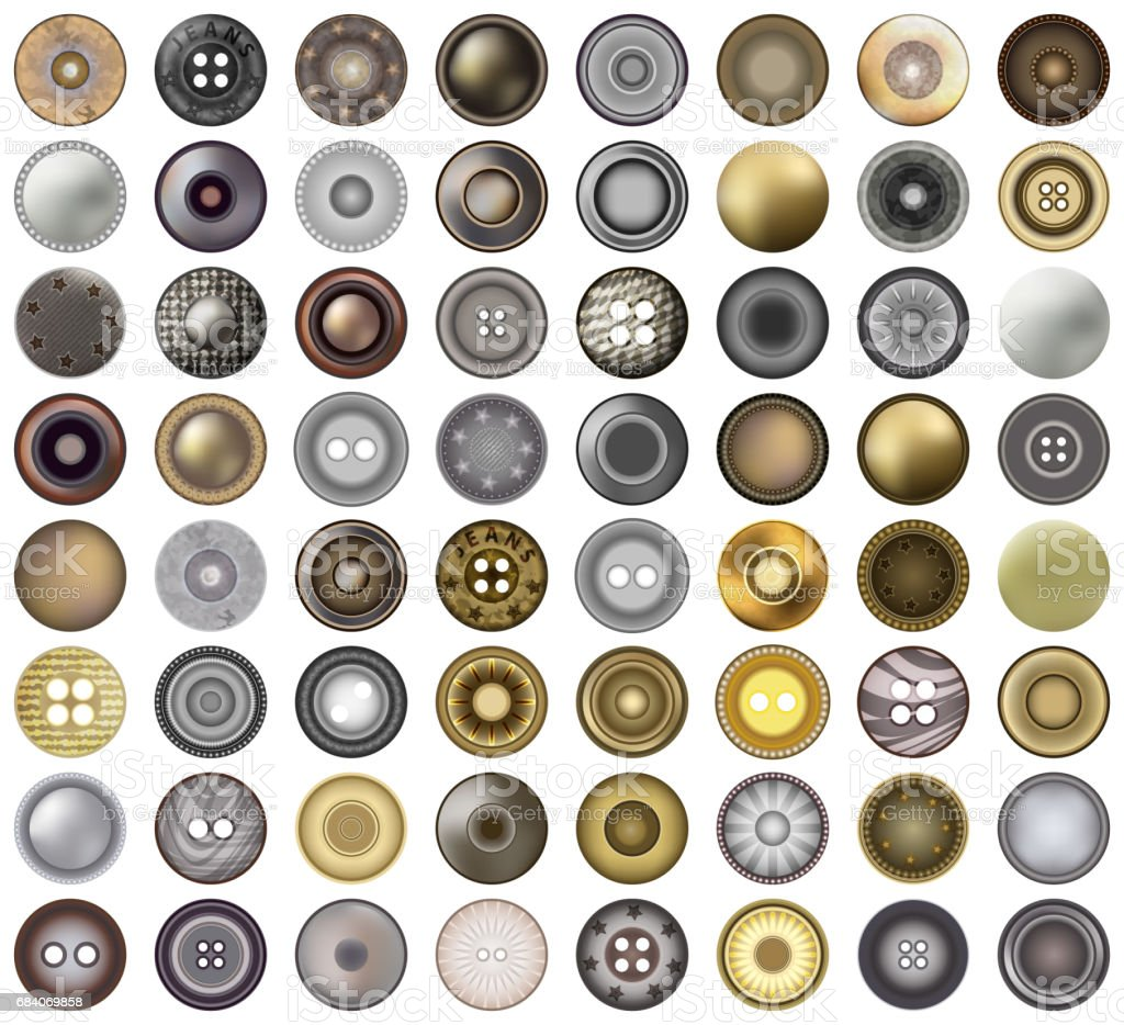 Realistic Accessories Metal Jeans Round Button or Rivets Set Web Design Element. Vector 3d illustration isolated on white. Mega collection of old vintage sewing buttons. vector art illustration
