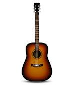 Realistic acoustic guitar. Vector illustration