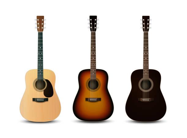 stockillustraties, clipart, cartoons en iconen met realistic acoustic guitars. vector set - gitaar