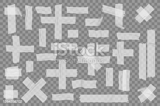 Realistic adhesive tapes set. Illustration of realism style drawn adhesives pieces of taped paper and stickers stripes. Collection of wrinkled insulate sticky ribbons on transparent background vector.