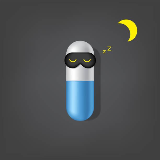 realistische werbung schlaflos, schlaflosigkeit kapsel oder pille medizin hintergrund illustration. - extravagant schutzbrille stock-grafiken, -clipart, -cartoons und -symbole