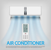Realistic air conditioner with remote control isolated on gray Wall Background. Air conditioner vector illustration