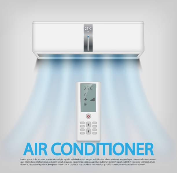 ilustrações, clipart, desenhos animados e ícones de realista, ar condicionado com controle remoto, isolado no fundo de parede cinza. ilustração do vetor de condicionador de ar - ar condicionado