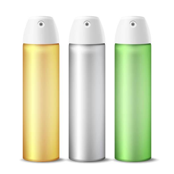 realistische air lufterfrischer spray kann vektor. aluminium kann vorlage leer. haarspray, deodorant. 3d-packaging. vorlage für mock up. isolierte illustration - haarsprays stock-grafiken, -clipart, -cartoons und -symbole