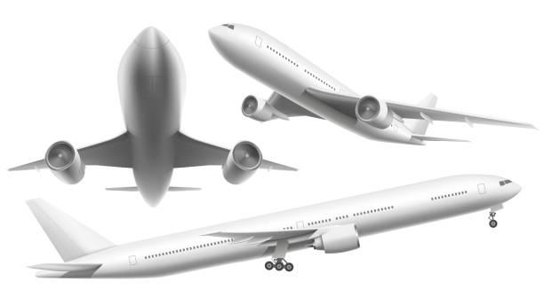 ilustraciones, imágenes clip art, dibujos animados e iconos de stock de aviones realistas. avión de pasajeros, avión vuelo sky y avión en diferentes puntos de vista aislaron ilustración vectorial - avión