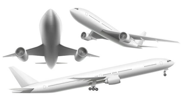 Realistic aircraft. Passenger plane, sky flying aeroplane and airplane in different views isolated vector illustration Realistic aircraft. Passenger plane, sky flying aeroplane and airplane in different views. 3d planes transport or landing airliner aerial isolated icons vector illustration plane stock illustrations
