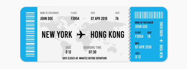 realistic airline ticket design with passenger name. vector illustration - airplane ticket stock illustrations