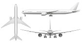 Realistic airplane. Aircraft plane view landing on runway or flying. White 3d airplane or air transport jet fuselage front view. Aviation flight isolated illustration icons set