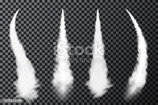 Realistic airplane condensation trails. Smoke from jet or rocket launch. Set of smoke contrails and streaks of condensed water vapor. Vector
