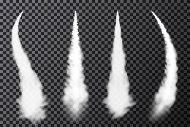 stockillustraties, clipart, cartoons en iconen met realistische vliegtuig condensatie routes. roken van jet- of raket lancering. set rook contrails - raket ruimteschip