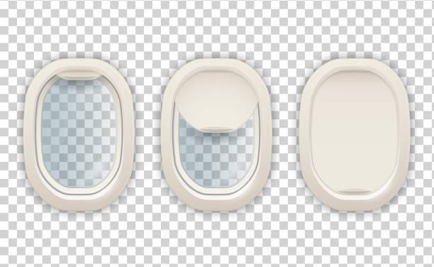 stockillustraties, clipart, cartoons en iconen met realistisch vliegtuig patrijspoort, luchtvaart en toerisme beeld - raam