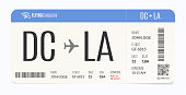Realistic airplane template. Modern airline admission. Boarding pass illustration.