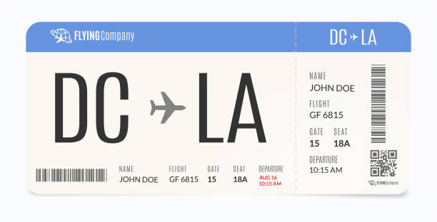 Realistic airplane template. Modern airline admission. Boarding pass illustration. Realistic airplane template. Modern airline admission. Boarding pass illustration airplane ticket stock illustrations