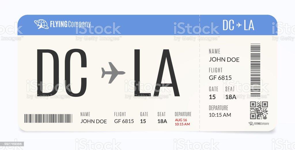 Plantilla de avión realista. Entrada de la línea aérea moderna. Ilustración tarjeta de embarque. - ilustración de arte vectorial