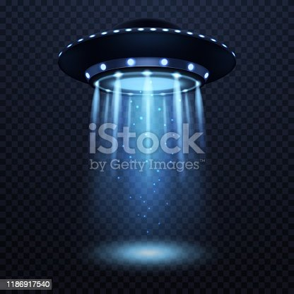 UFO. Realistic alien spaceship with blue light beam, futuristic sci fi unidentified spacecraft isolated 3d vector spotlight silhouette illustration
