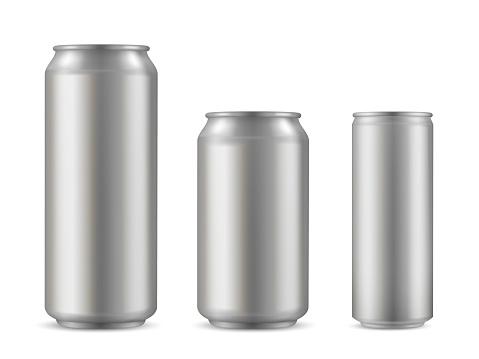 Realistic aluminium can set, soda drink container