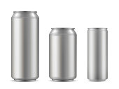 Realistic aluminium can set, soda drink container. Light, durable and functional beverages, beer and soft drink packaging. Vector illustration