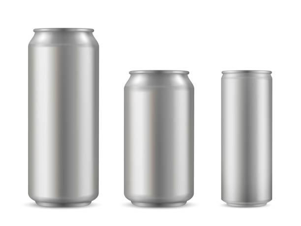 ilustrações de stock, clip art, desenhos animados e ícones de realistic aluminium can set, soda drink container - latão