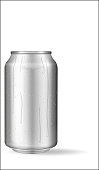 Realistic aluminum can with water drops. Metallic can for beer, soda, lemonade, juice, energy drink. Vector mockup, blank with copy space.