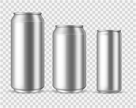 Realistic aluminum cans. Blank metallic can drink beer soda water juice packaging 300 330 500 empty mock up container vector template