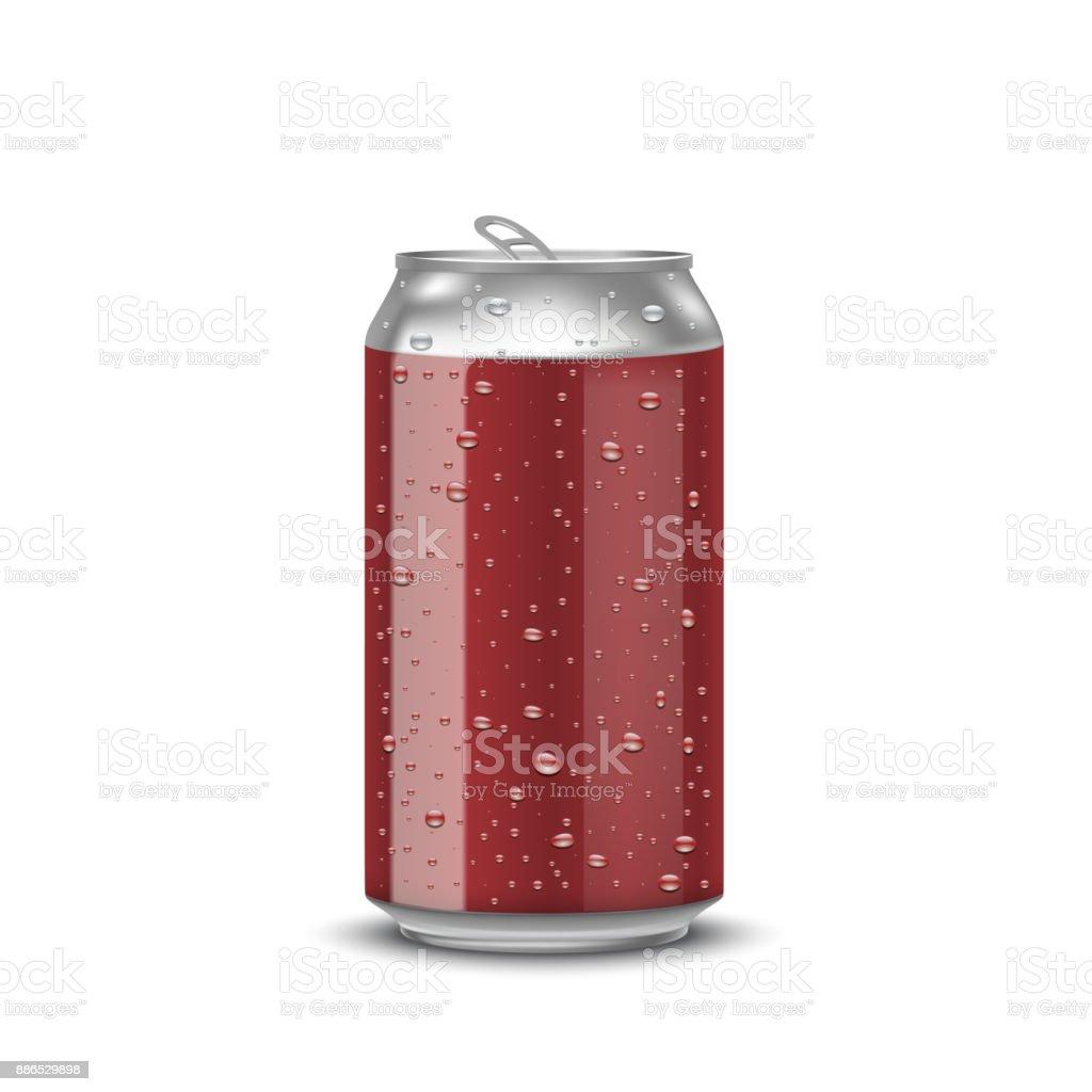 realistische aluminium blikjesvectorkunst illustratie