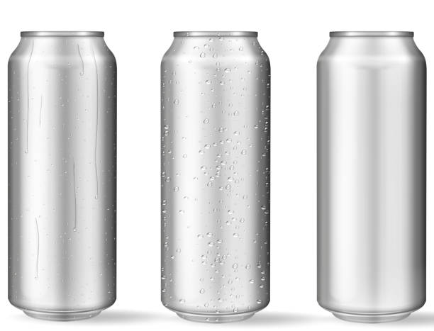 Realistic aluminum cans with water drops vector art illustration