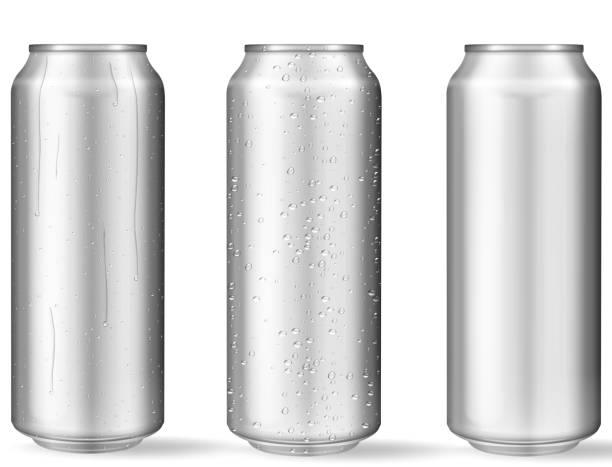 illustrazioni stock, clip art, cartoni animati e icone di tendenza di realistic aluminum cans with water drops - latte