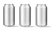istock Realistic aluminum cans with water drops. Vector 1205356387