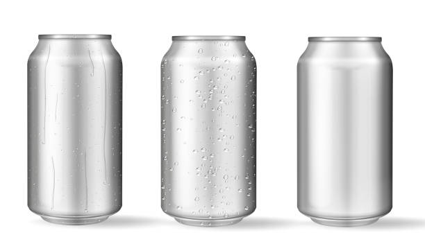 Realistic aluminum cans with water drops. Vector vector art illustration
