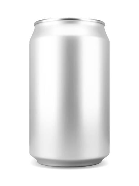 ilustrações de stock, clip art, desenhos animados e ícones de realistic aluminum soft drink or beer can - latão