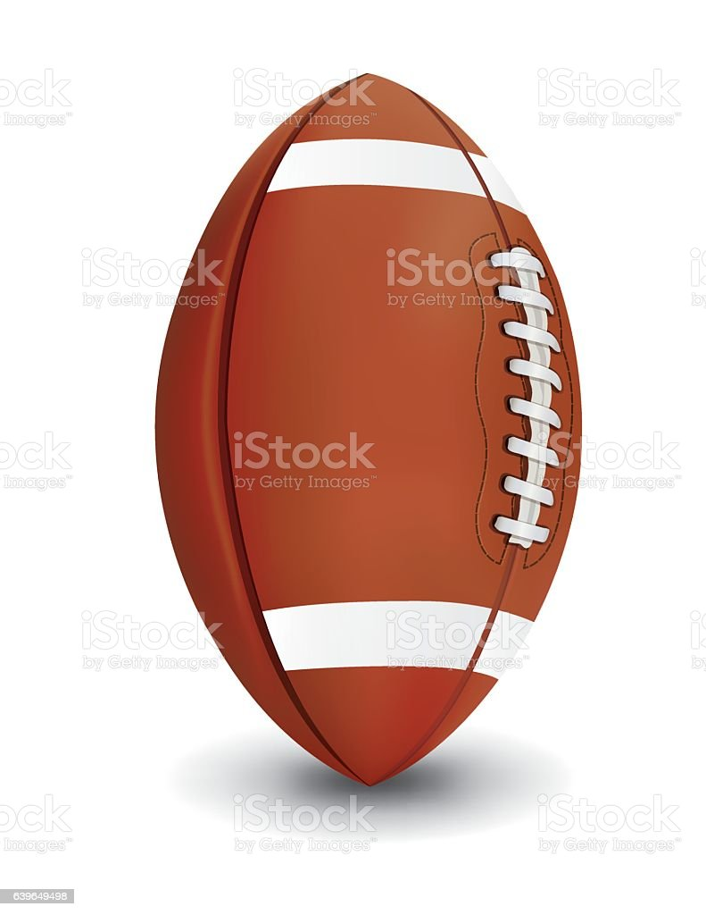 Realistic American Football Isolated on White Background Illustr