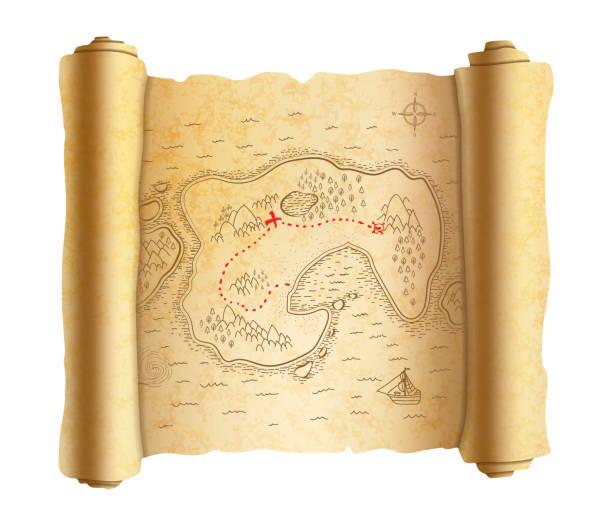 ilustrações, clipart, desenhos animados e ícones de mapa de pirata antigo realista da ilha velho pergaminho com caminho vermelho ao tesouro - mapas de tesouro