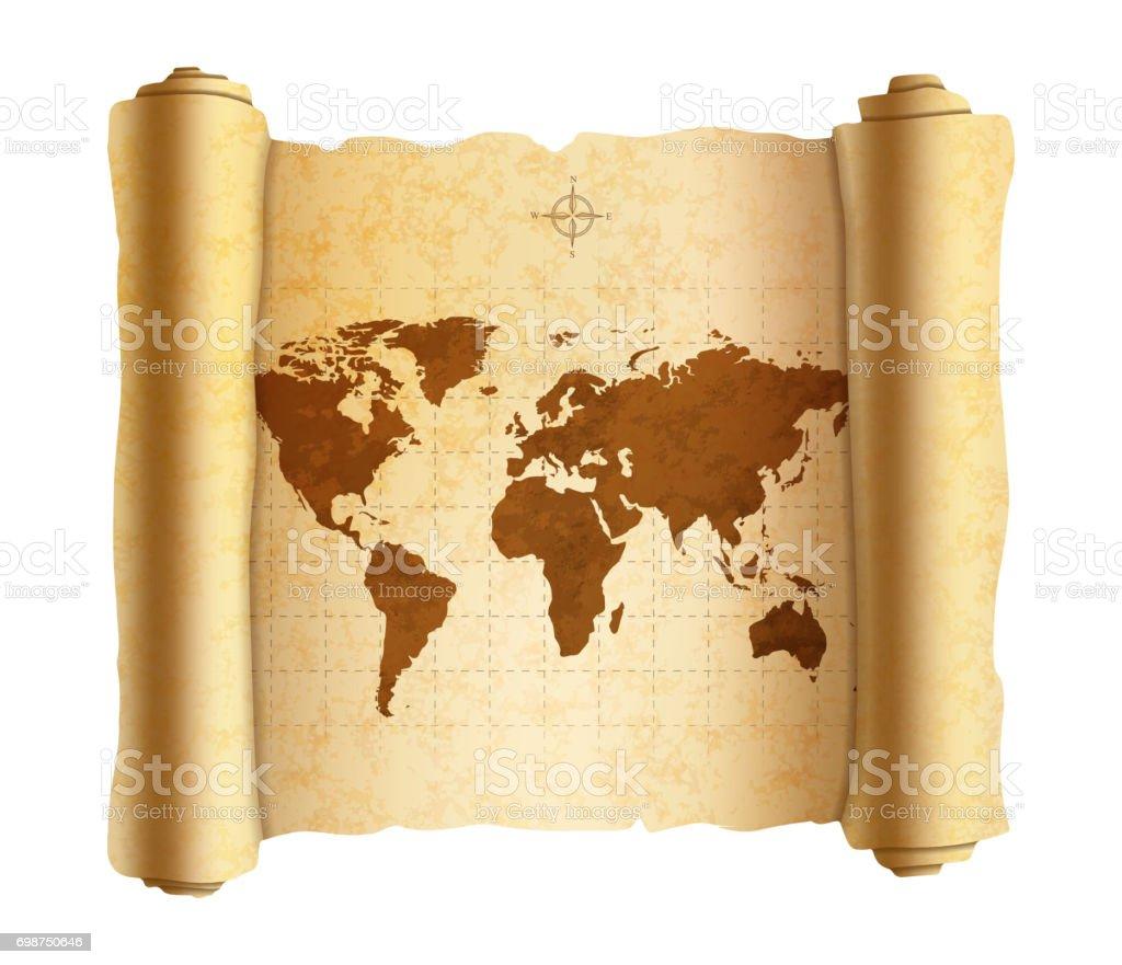 Carte Du Monde Parchemin carte du monde antique réaliste sur vieux parchemin texturé isolé