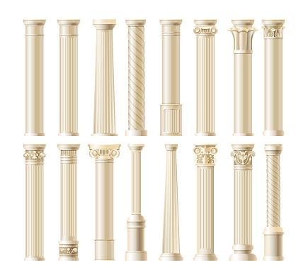 Realistic antique pillars set. Antique column, classic pillar. Ancient ornate pillars historic roman greek architecture facades of historic buildings isolated vector